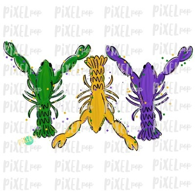 Mardi Gras Crawfish Fat Tuesday Art Sublimation PNG | New Orleans | Hand Painted Design | Mardi Gras Design | Digital Download | Clip Art