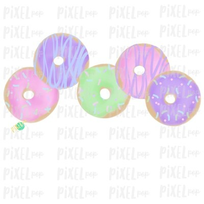 Pastel Donuts Valentine Watercolor Art Sublimation Design PNG | Hand Drawn PNG | Sublimation | Digital Download | Printable Art | Clip Art