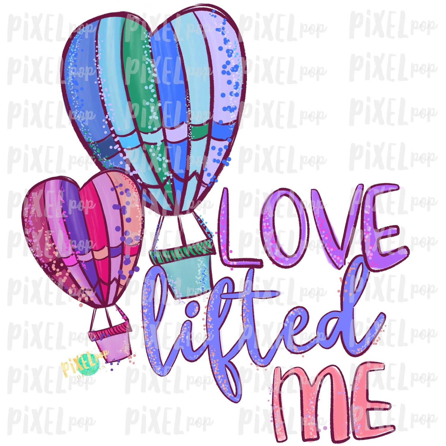 Love Lifted Me Heart Hot Air Balloons Valentine Sublimation PNG | Love is Kind | Valentine Day Art | Hymn PNG | Digital Download | Printable Art | Clip Art