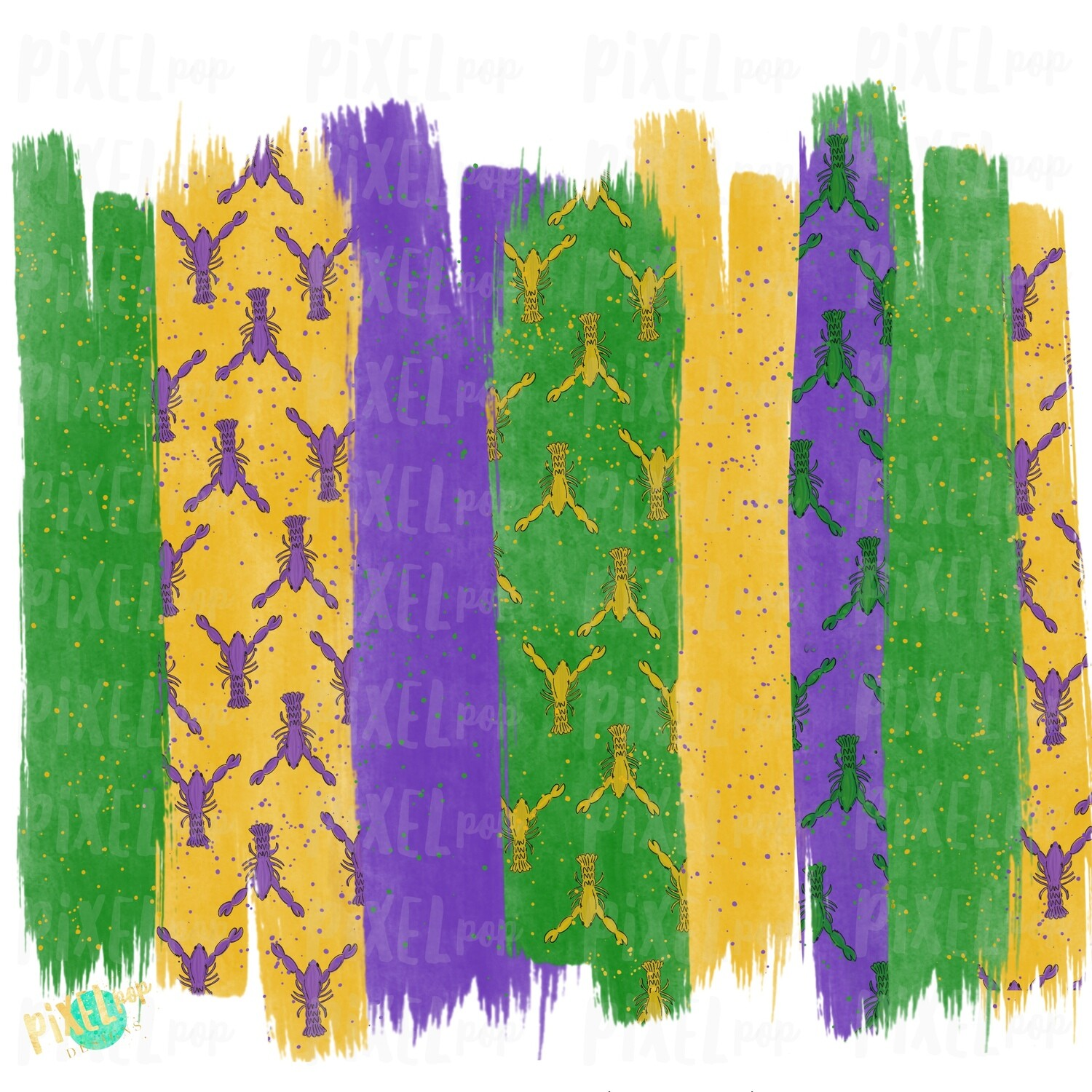 Mardi Gras Crawfish Brush Stroke Background Sublimation PNG | New Orleans | Hand Painted | Mardi Gras Design | Digital Download | Clip Art
