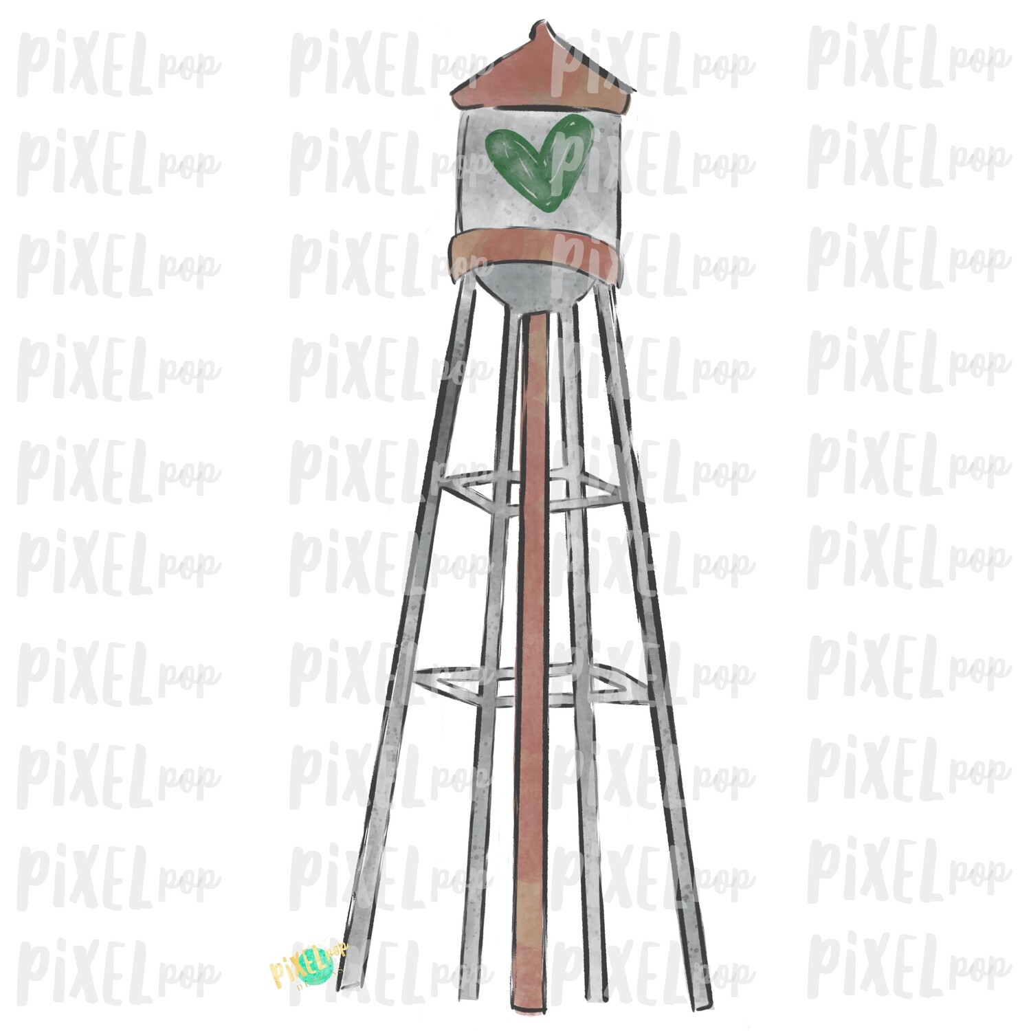 Water Tower Green Heart Digital Art Sublimation PNG | Valentines Day Art | Country Valentine | Digital Download | Printable Art | Clip Art