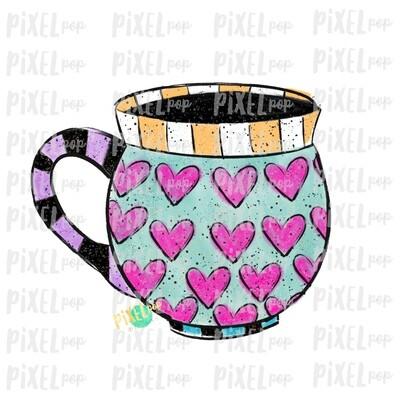 Valentine Heart Pottery Mug Digital Art Sublimation PNG | Valentines Day Art | Hearts Stripes | Digital Download | Printable Art | Clip Art