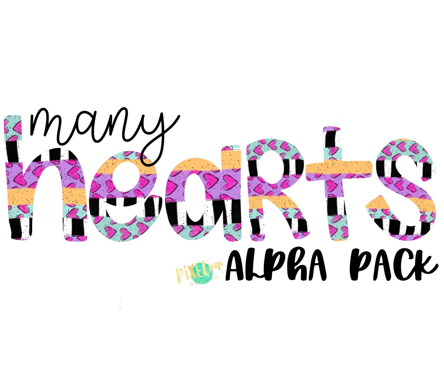 Many Hearts Valentine Hand Drawn Alphabet Letter PNG Set | Alphapack Font | PNG | Art | Sublimation Doodle Letter | Transfer Letters