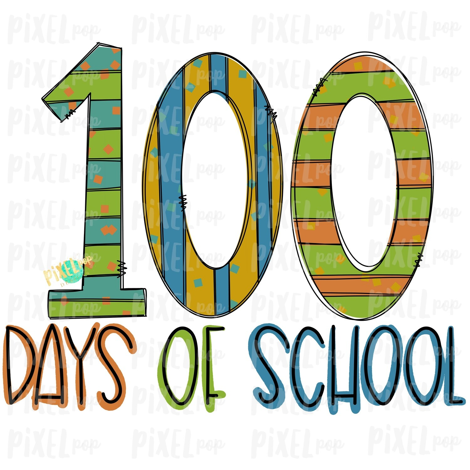 100 Days of School Design Blue Sublimation Art | School PNG| Hand Drawn PNG | Sublimation PNG | Digital Download | Printable Artwork | Art