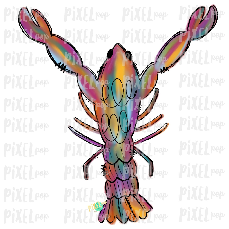 Colorful Watercolor Crawfish Art Sublimation PNG | New Orleans | Hand Painted Design | Mardi Gras Design | Digital Download | Clip Art
