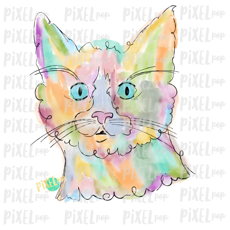 Cat Watercolor Art Sublimation Transfer Design PNG   Sublimation Design   Digital Artwork PNG   Digital Download   Printable Art   Clip Art