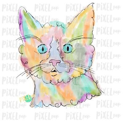 Cat Watercolor Art Sublimation Transfer Design PNG | Sublimation Design | Digital Artwork PNG | Digital Download | Printable Art | Clip Art