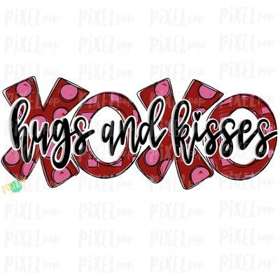Hugs and Kisses XoXo Black Script Sublimation PNG | Valentine Day Art | Hand Painted Art | Digital Download | Printable Art | Clip Art