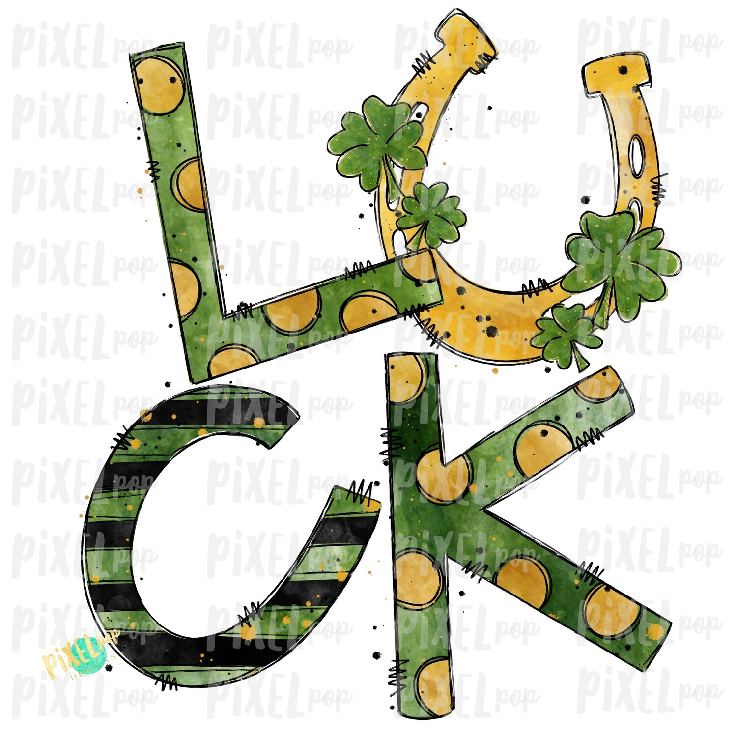 Luck Saint Patrick's Day Sublimation PNG | CloverArt | Horeshoe Design | Hand Painted Art | Digital Download | Printable | St. Paddy's Day