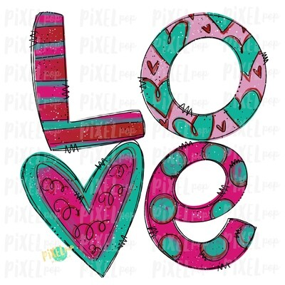 Love Funky Painted Valentines Day Sublimation PNG | Valentine Art | XoXo Design | Hand Painted Art | Digital Download | Printable | Clip Art