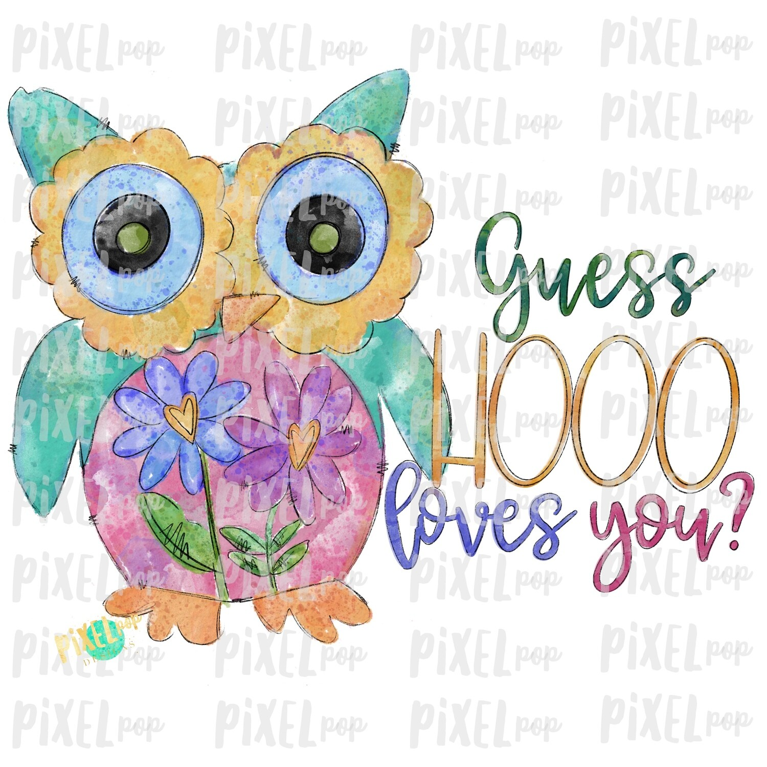 Owl Guess Hooo Loves You Valentines Day Sublimation PNG | Valentine Art | Owl | Hand Painted Art | Digital Download | Printable | Clip Art