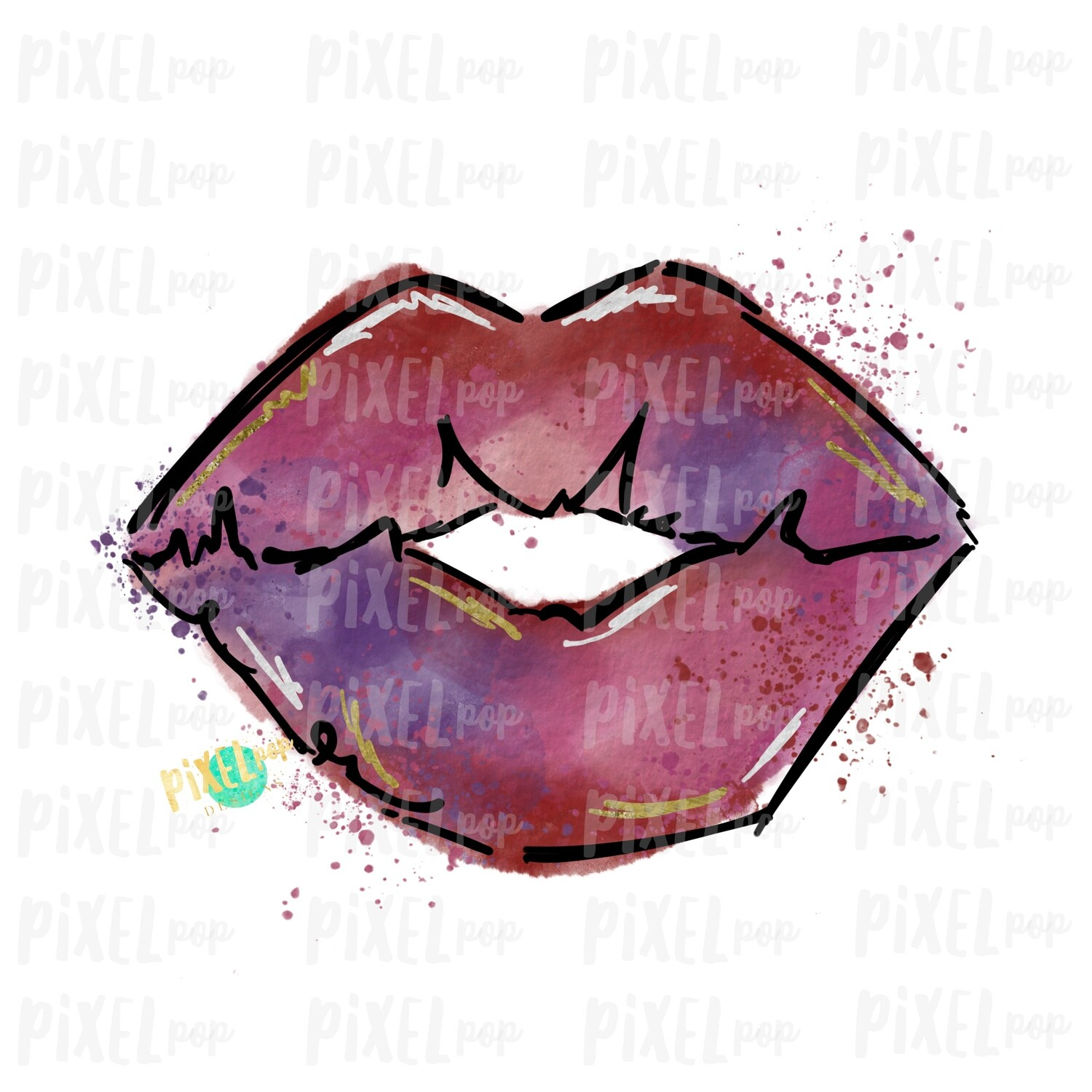Watercolor Lips with Gold Sublimation PNG | Valentines Day Art | Lips PNG | Hand Painted Art | Digital Download | Printable Art | Clip Art