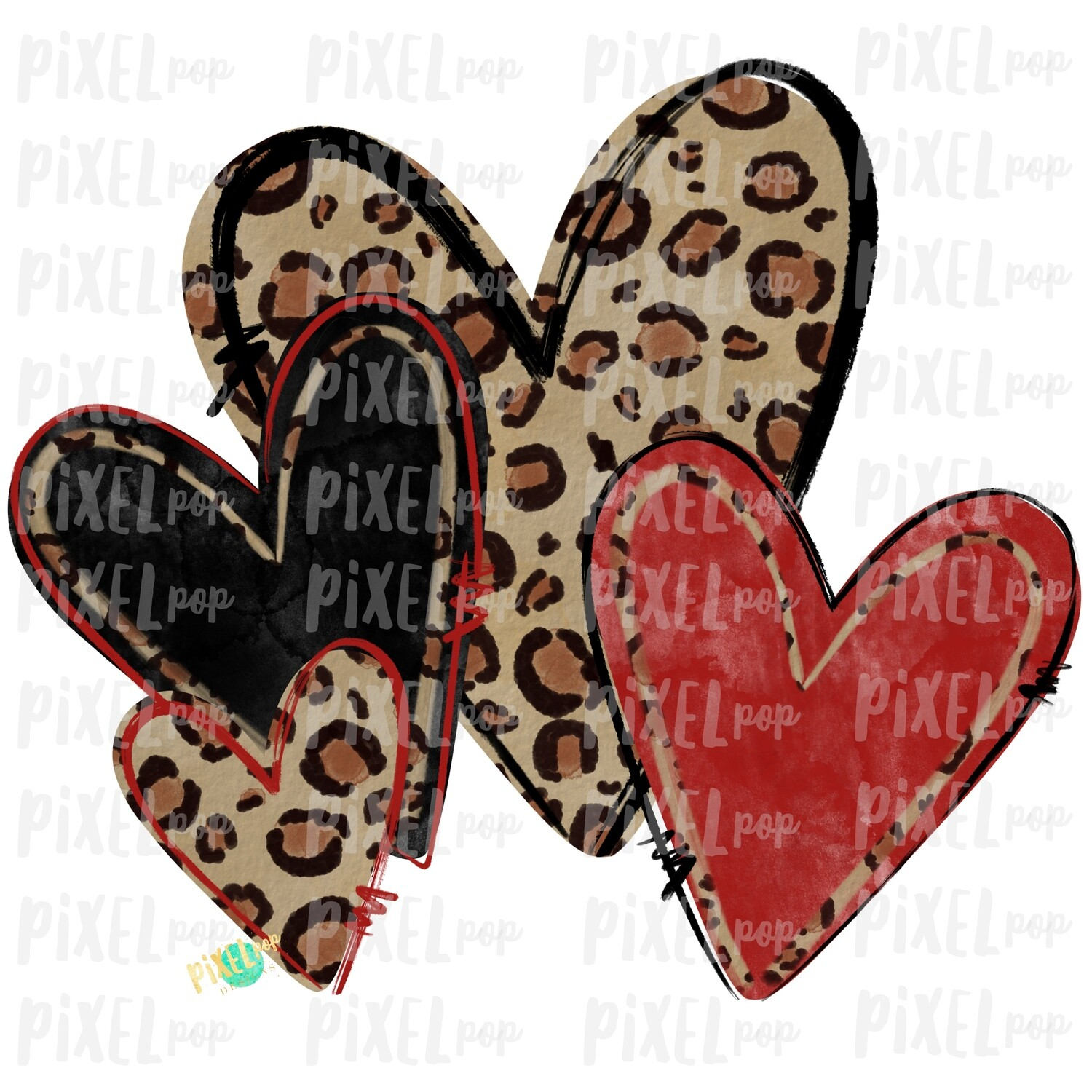 Leopard Print Hearts Valentine Sublimation PNG | Valentine Hearts | Leopard Hearts | Hand Painted Art | Digital Design | Printable Art