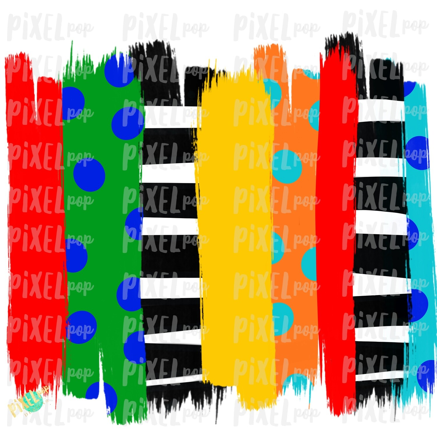 Primary Colors Brush Stroke Background Sublimation PNG   Reading PNG   Art   Oh the Places   Hand Painted   Digital Background   Printable