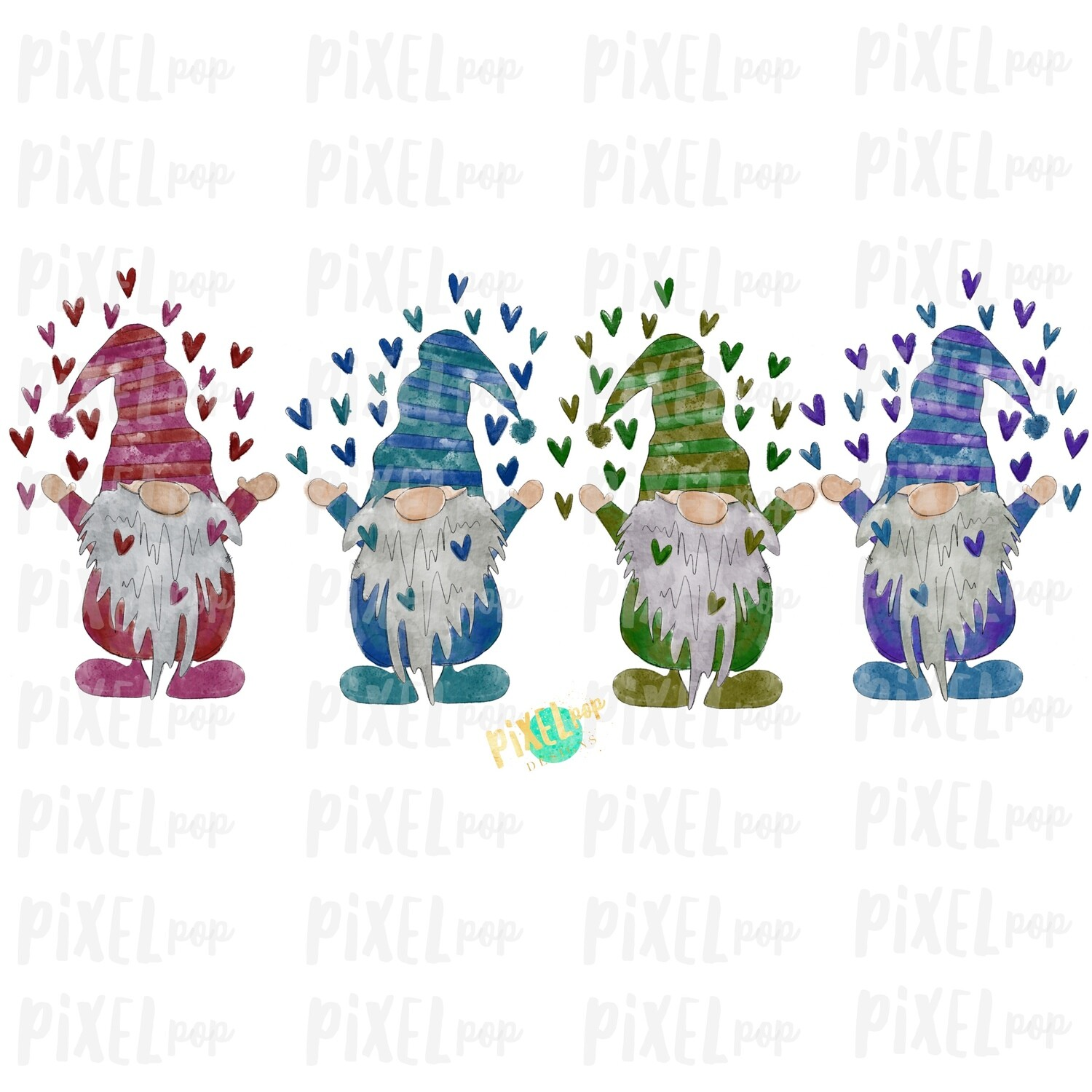Valentine Heart Gnomes Quad Watercolor Sublimation PNG | Gnome Digital | Valentines Day Gnome | Valentine Gnomes | Watercolor Gnomes | Gnome