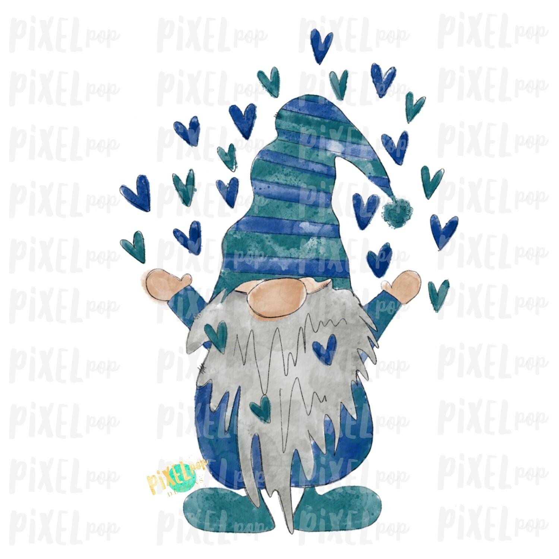 Valentine Heart Gnome Blue Watercolor Sublimation PNG   Gnome Digital   Valentines Day Gnome   Hearts Gnome   Watercolor Gnomes   Gnomes