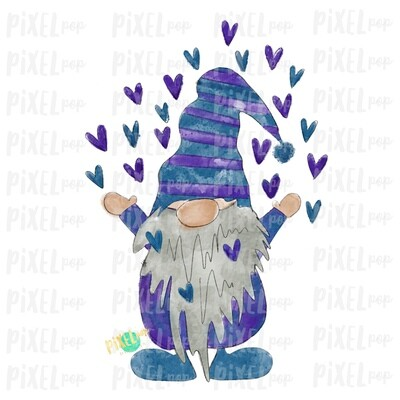 Valentine Heart Gnome Purple Blue Watercolor Sublimation PNG | Gnome Digital | Valentines Day Gnome | Heart Gnome | Watercolor Gnome | Gnome