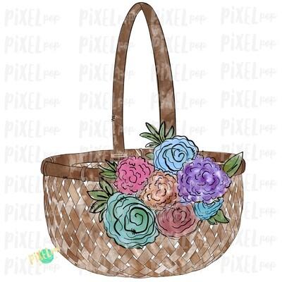 Floral Easter Baset Watercolor PNG | Sublimation Design | Easter Design | Heat Transfer PNG | Digital Download | Printable Art | Clip Art