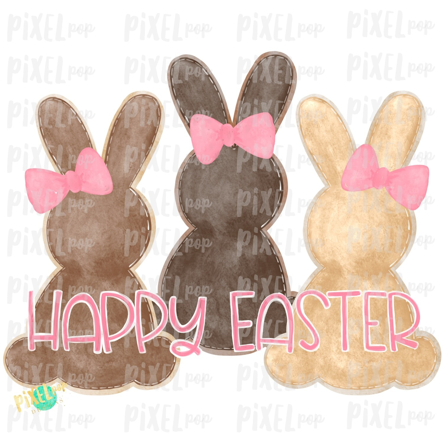 Brown Girl Bunnies Trio Watercolor Sublimation Design PNG | Easter Design | Bunny Design | Easter PNG | Sublimation Design | Watercolor Art