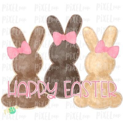 Brown Girl Bunnies Trio Watercolor Sublimation Design PNG | Easter Design | Bunny Design | Easter PNG | Sublimation Design | Watercolor Art