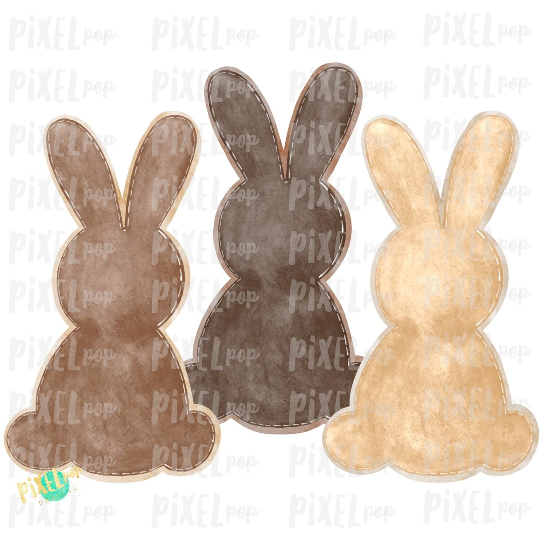 Bunny Watercolor Trio Browns Tan Sublimation Design PNG | Easter Design | Bunny Design | Easter PNG | Sublimation Design | Watercolor Art