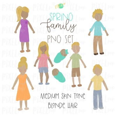 SPRING Medium Skin Blonde Hair Stick People Figure Family PNG Sublimation | Family Ornament | Family Portrait Images | Digital Download