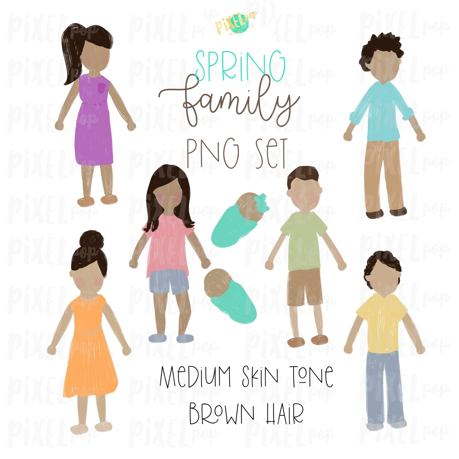 SPRING Medium Skin Brown Hair Stick People Figure Family PNG Sublimation   Family Ornament   Family Portrait Images   Digital Download
