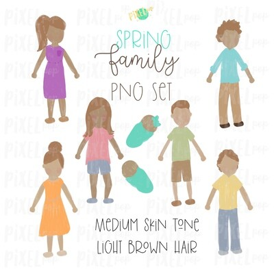 SPRING Medium Skin Light Brown Hair Stick People Figure Family PNG Sublimation | Family Ornament | Family Portrait Images | Digital Download