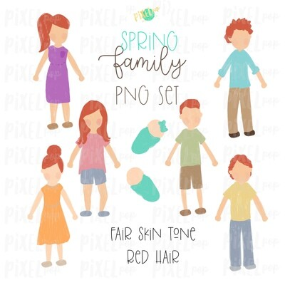 SPRING Fair Skin Red Hair Stick People Figure Family PNG Sublimation | Family Ornament | Family Portrait Images | Digital Download
