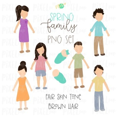 SPRING Fair Skin Brown Hair Stick People Figure Family PNG Sublimation | Family Ornament | Family Portrait Images | Digital Download