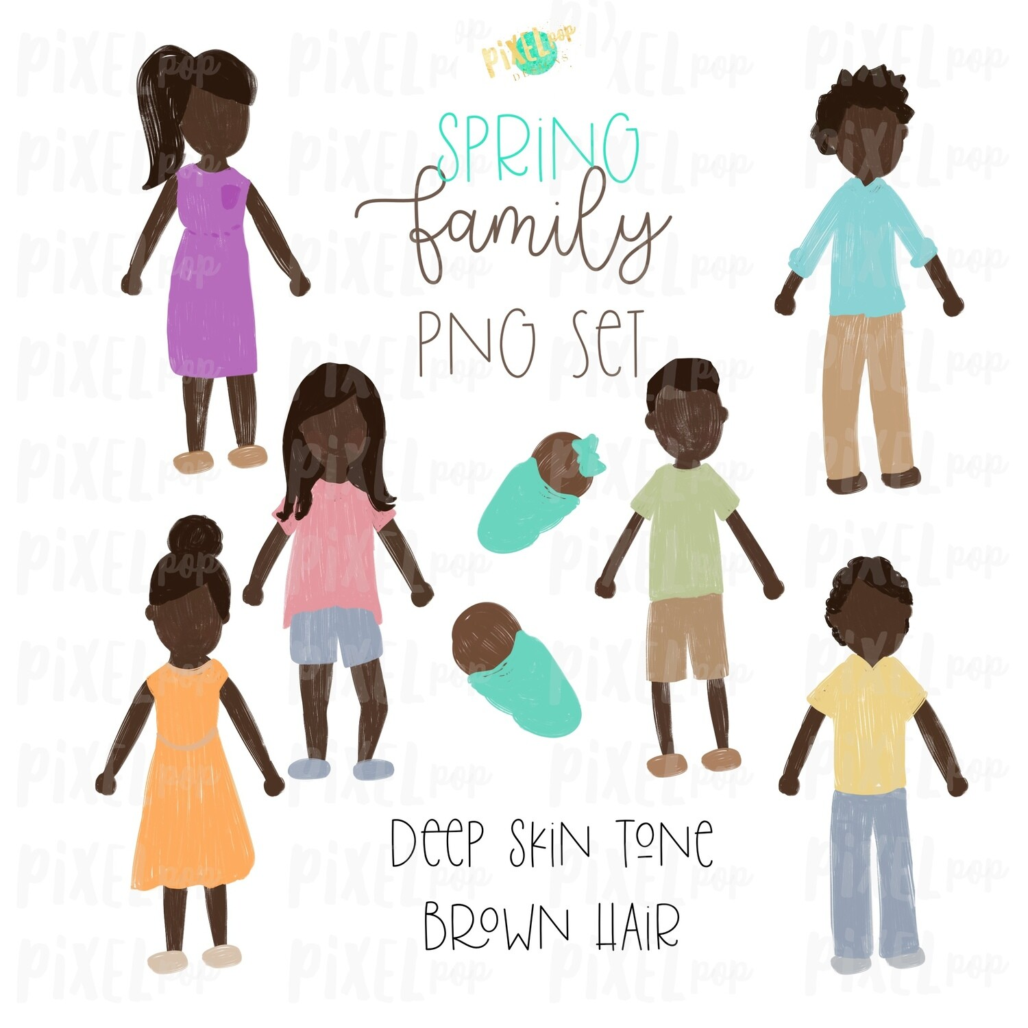 SPRING Deep Skin Brown Hair Stick People Figure Family PNG Sublimation | Family Ornament | Family Portrait Images | Digital Download