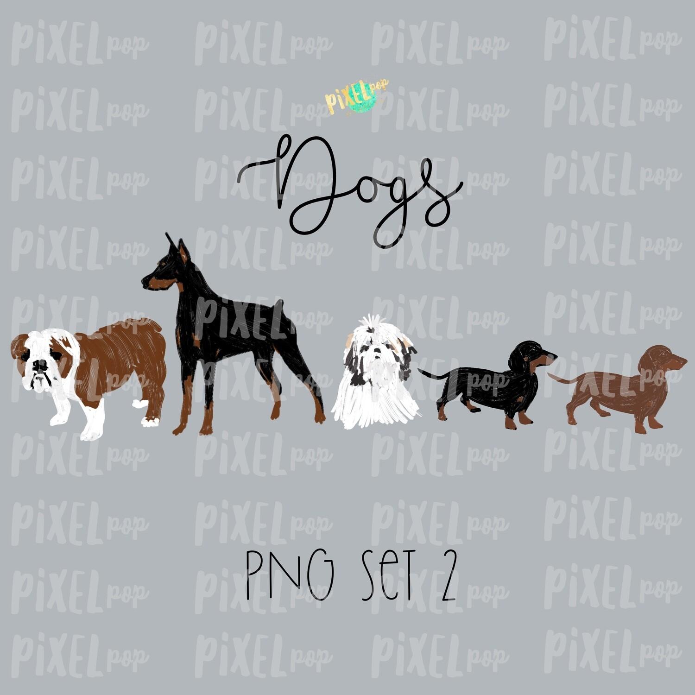 Dog Pets Set 2 for Stick Figure People Family Members Art PNG Sublimation | Family Ornament | Family Portrait Images | Digital Download