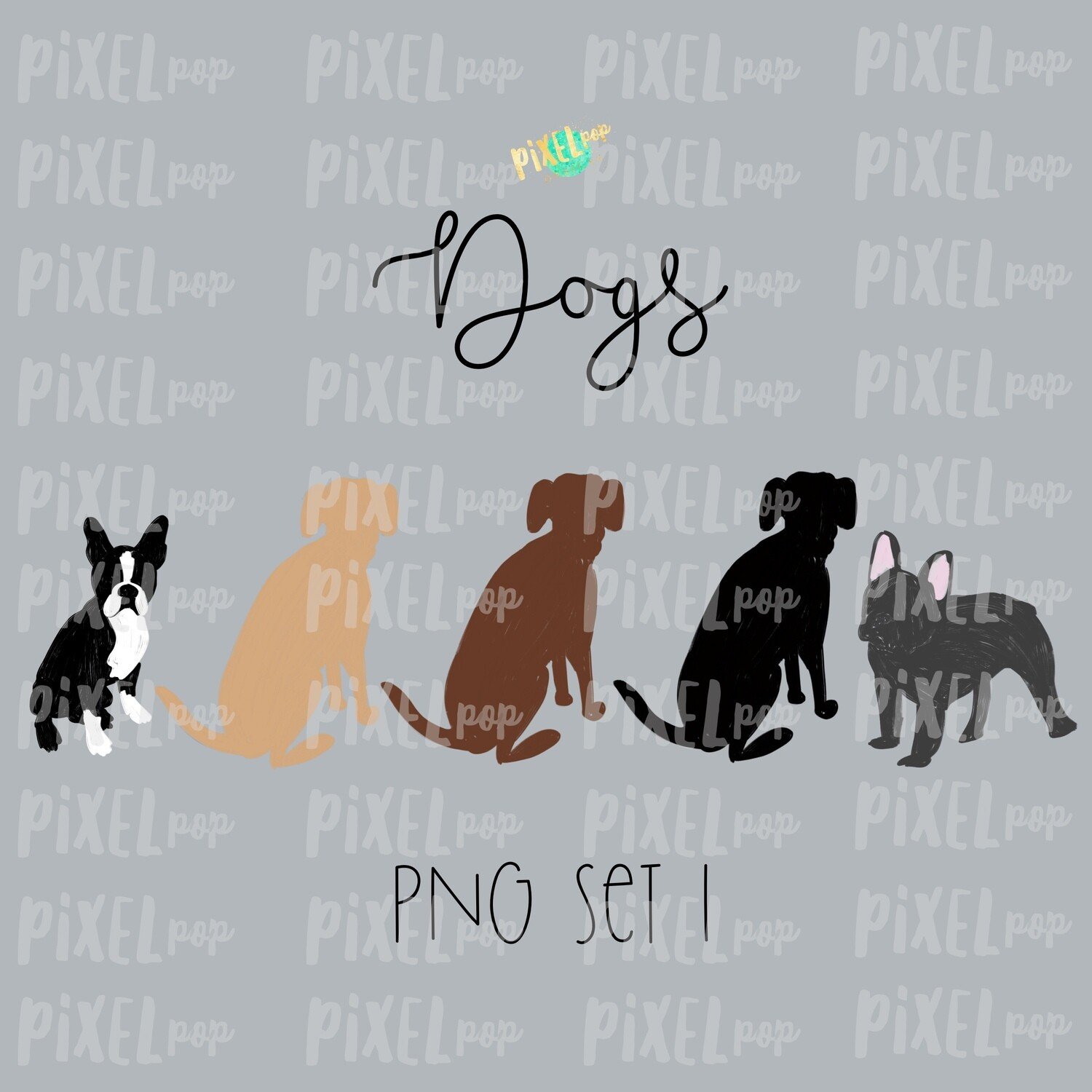 Dog Pets Set 1 for Stick Figure People Family Members Art PNG Sublimation | Family Ornament | Family Portrait Images | Digital Download
