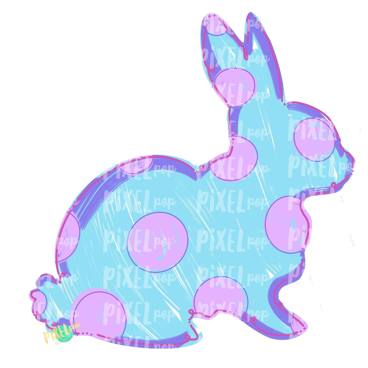 Bunny Polka Dot Silhouette BLUE Sublimation Design PNG | Easter Art | Heat Transfer PNG | Digital Download | Printable Artwork | Digital Art