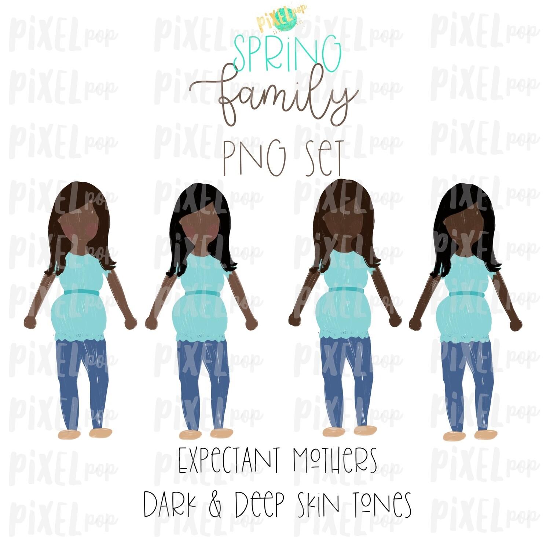 Expectant Pregnant Mothers Dark & Deep Skin Tones Stick People Figure Members PNG   Family Ornament   Family Portrait Images   Digital Art