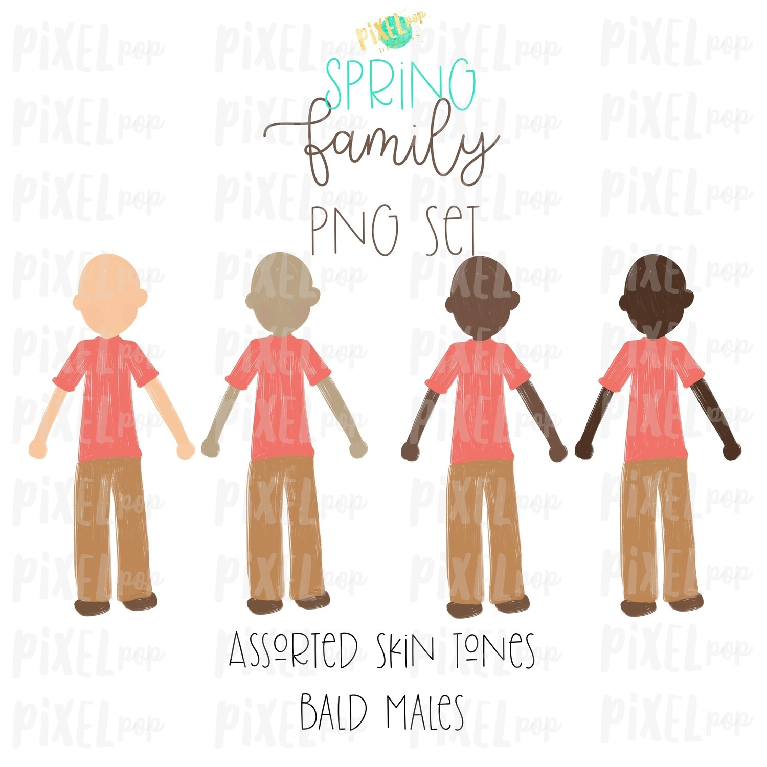 Assorted SPRING Bald Males Stick People Figure Family Members Set PNG Sublimation | Family Art | Family Portrait Images | Digital Download