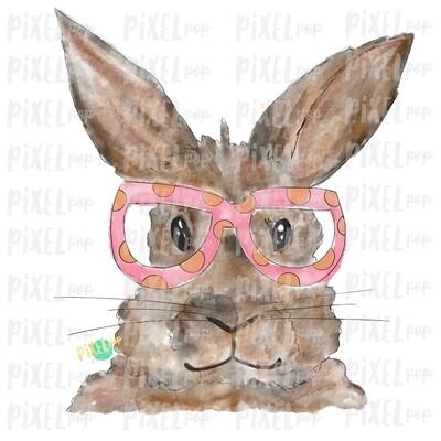 Bunny Glasses Watercolor Pink Sublimation PNG | Easter Art | Heat Transfer PNG | Digital Download | Printable | Digital Art