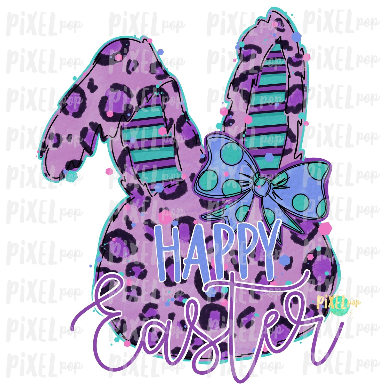 Happy Easter Leopard Bunny Rabbit Purple Bow Silhouette Sublimation PNG | Easter Art | Digital Download | Printable | Digital Art
