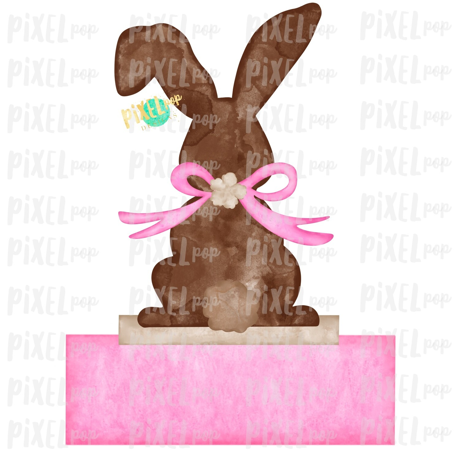 Bunny Back View Watercolor Blank Name Plate Pink Sublimation Design PNG | Easter Flag Design | Bunny Design | Easter PNG | Watercolor Art