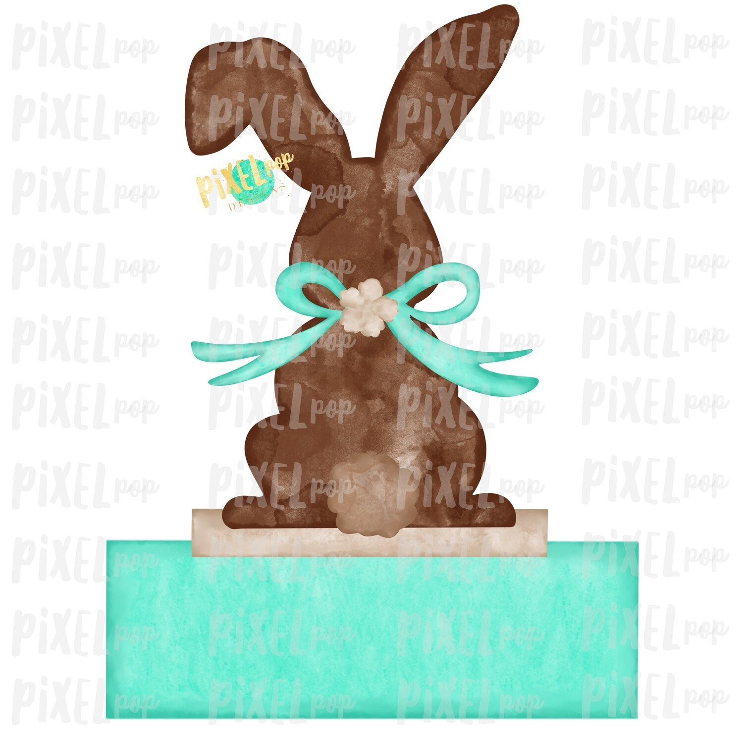 Bunny Back View Watercolor Blank Name Plate Mint Sublimation Design PNG   Easter Flag Design   Bunny Design   Easter PNG   Watercolor Art