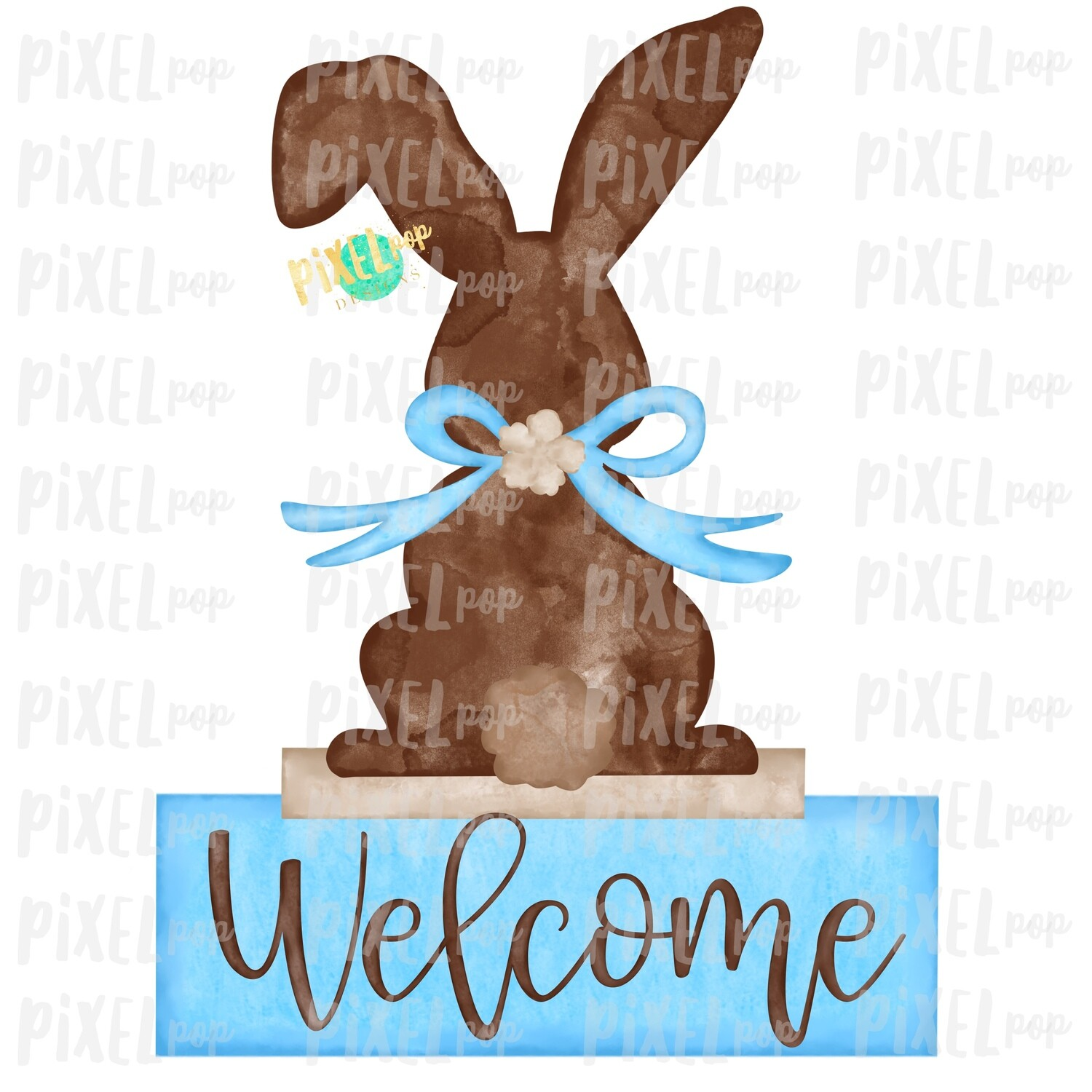 Bunny Back View Watercolor Blue Welcome Sublimation Design PNG | Easter Flag Design | Bunny Design | Easter PNG | Watercolor Art
