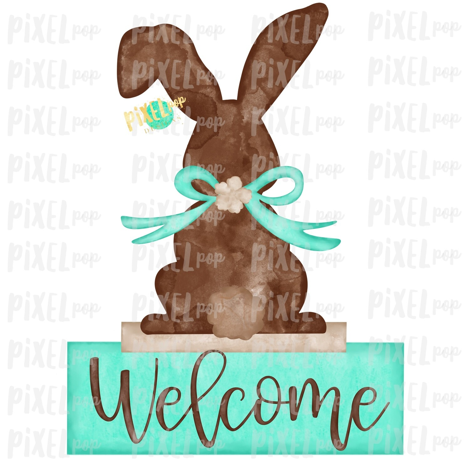 Bunny Back View Watercolor Mint Welcome Sublimation Design PNG   Easter Flag Design   Bunny Design   Easter PNG   Watercolor Art