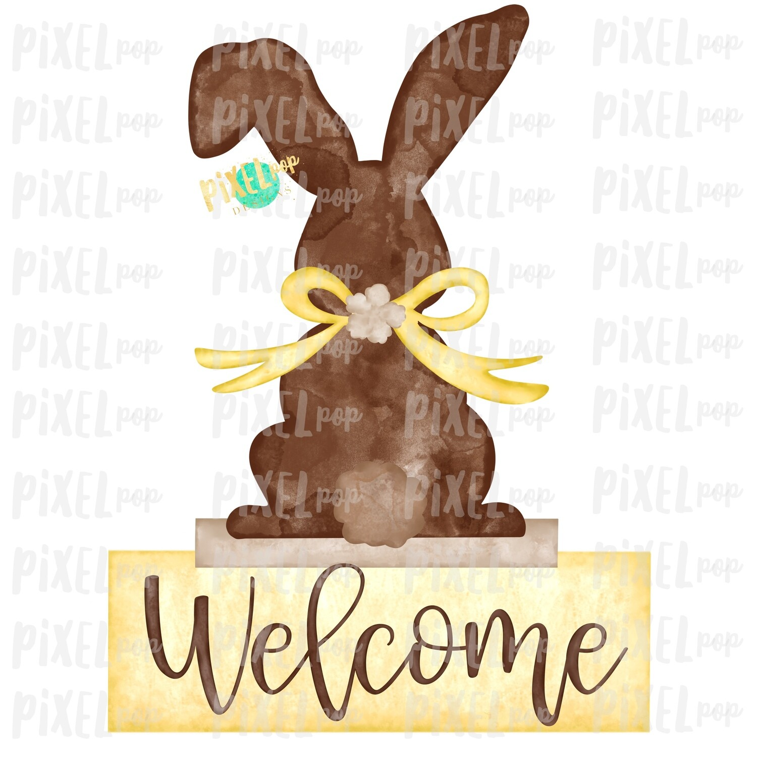 Bunny Back View Watercolor Yellow Welcome Sublimation Design PNG   Easter Flag Design   Bunny Design   Easter PNG   Watercolor Art