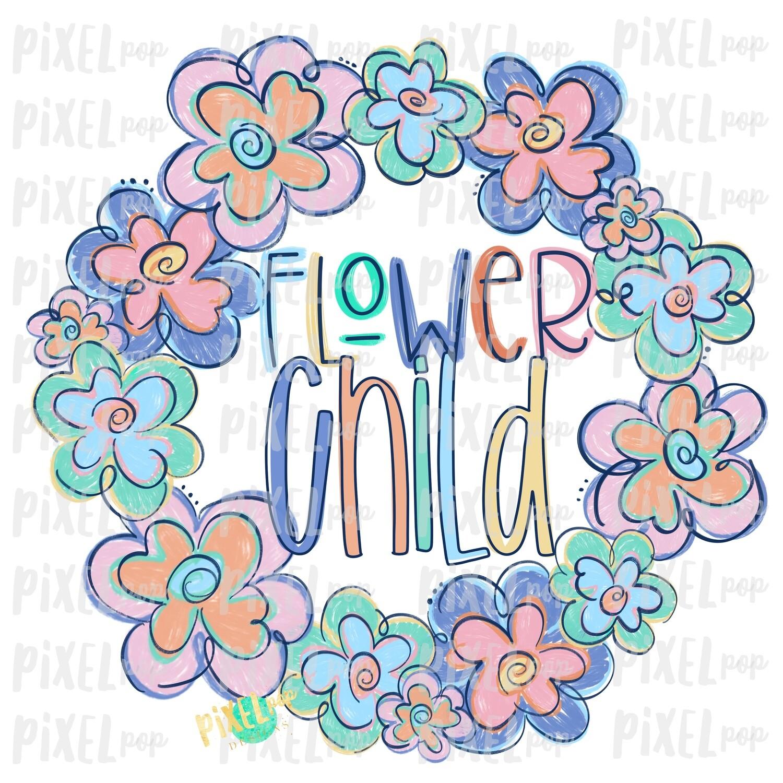 Flower Child Funky Flowers Wreath Sublimation Design PNG | Digital Painting | Spring Flowers Design | Flower Wreath | Watercolor Floral Art