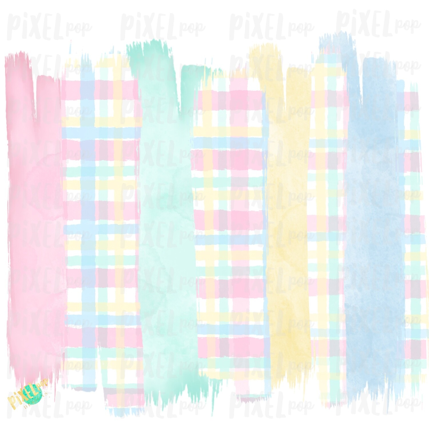 Pastel Plaid Brush Strokes Background Sublimation PNG | Reading PNG | Art | Oh the Places | Hand Painted | Digital Background | Printable