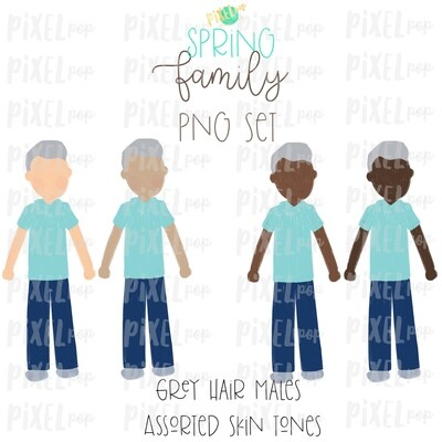 SPRING Grey Haired Males Assorted Skin Tones Stick People Figure Family Members Set PNG Sublimation | Family | Portrait
