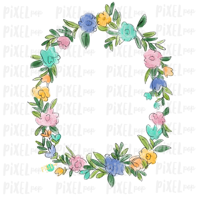 Pastel Watercolor Flowers - Floral Wreath Sublimation PNG | Digital Painting | Spring Flowers | Flower Wreath | Watercolor Floral Art