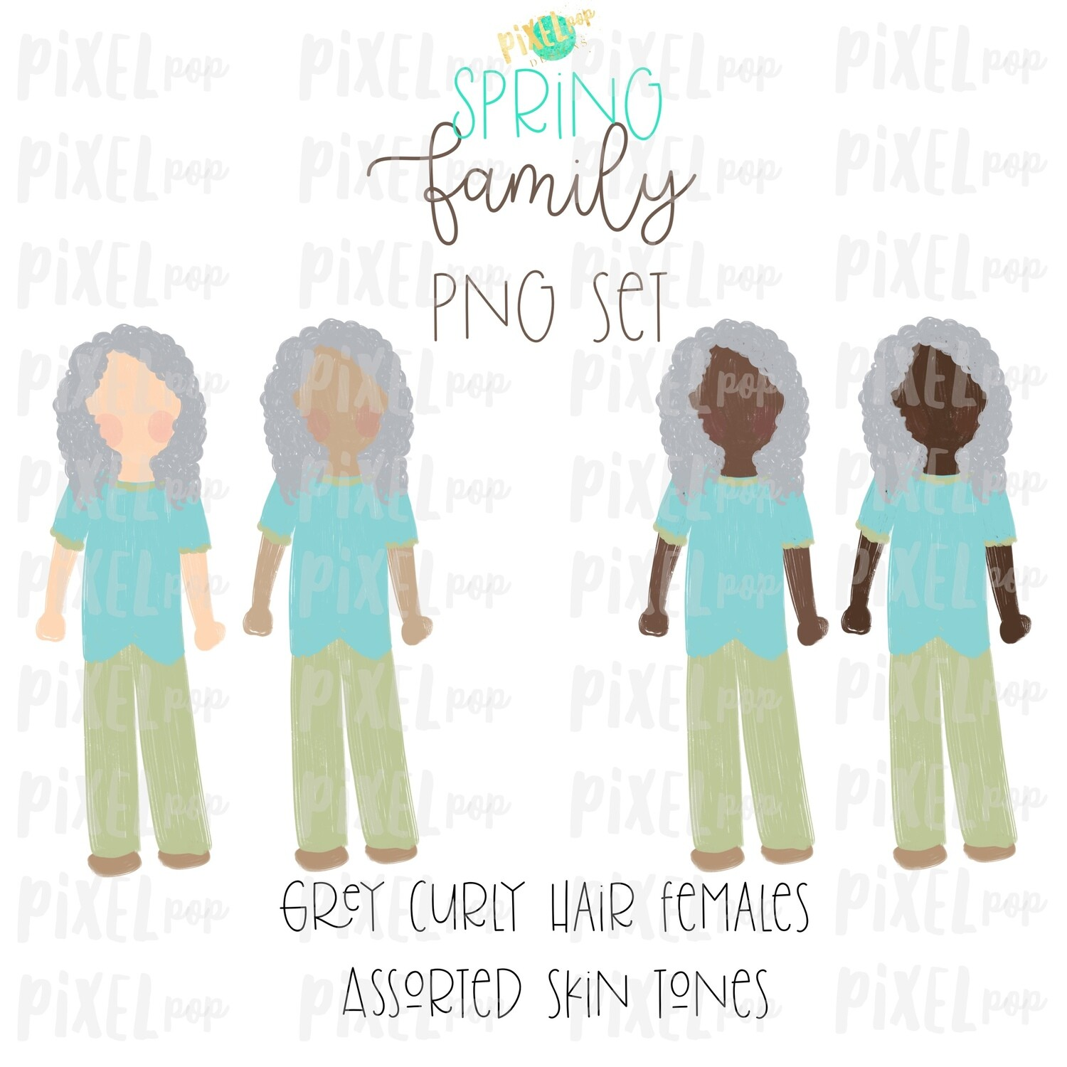 SPRING Grey Haired Females Assorted Skin Tones Stick People Figure Family Members Set PNG Sublimation   Family   Portrait