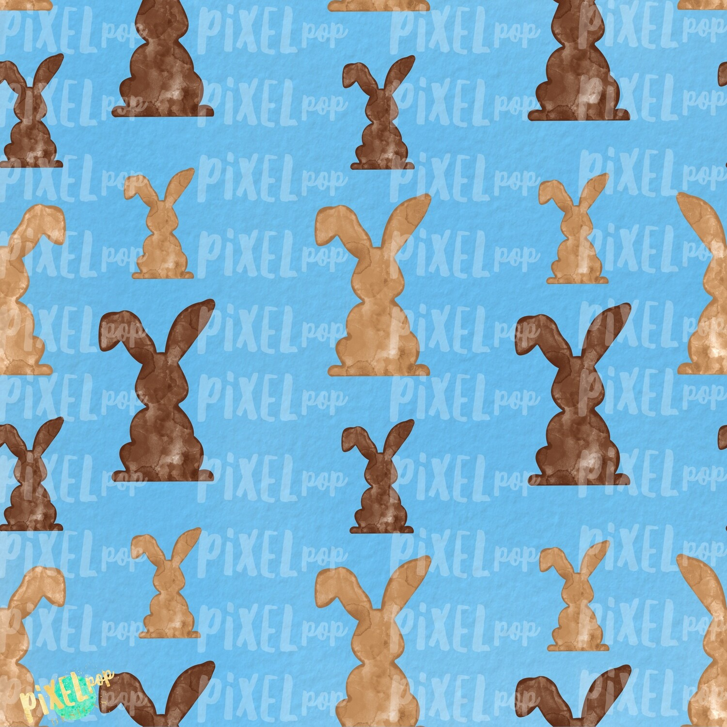 Bunnies Galore Blue Easter Digital Paper Sublimation PNG | Hand Painted Art | Sublimation PNG | Digital Download | Digital Scrapbooking Paper