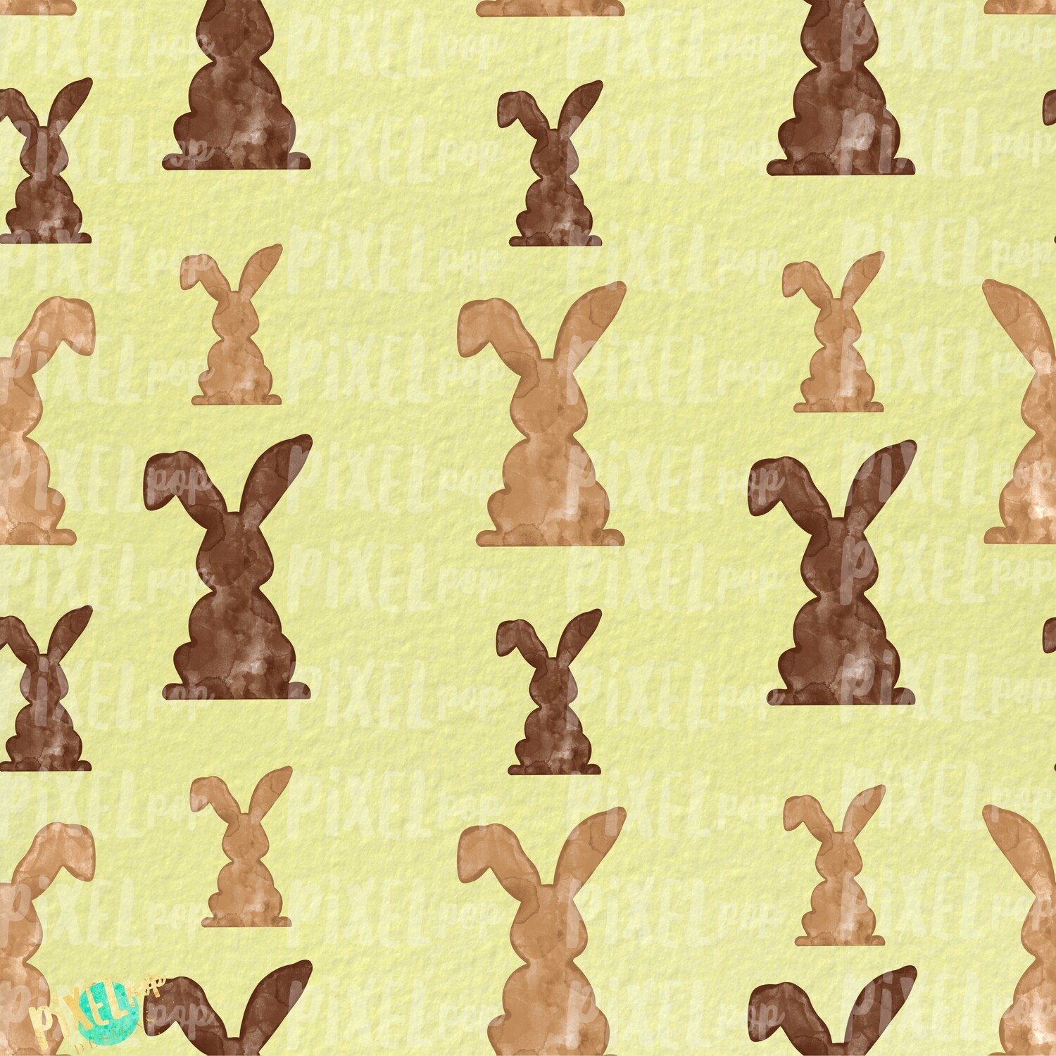 Bunnies Galore Yellow Easter Digital Paper Sublimation PNG   Hand Painted Art   Sublimation PNG   Digital Download   Digital Scrapbooking Paper
